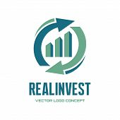 Постер, плакат: Real Invest vector logo concept Business finance logo Business economic logo Arrows and infogra