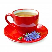 pic of chicory  - Chicory drink in a red cup with flower chicory on a saucer isolated on white background - JPG
