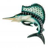 picture of swordfish  - a small swordfish fridge magnet made in plastic and isolated over white