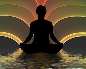 stock photo of yoga silhouette  - Illustration of a person meditating over an abstract background - JPG
