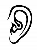picture of human ear  - vector black ear icon on white background - JPG