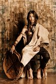 foto of reconstruction  - Art portrait of the American Indian - JPG