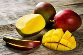 image of mango  - mango on a dark wood background - JPG
