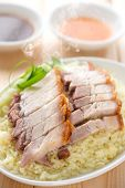 stock photo of pork belly  - Chinese crispy roasted belly pork rice - JPG