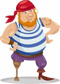 image of officer  - Cartoon Illustration of Funny Pirate Officer with Peg Leg - JPG
