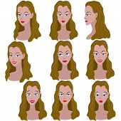 Постер, плакат: Set of variation of emotions of the same girl with brown hair