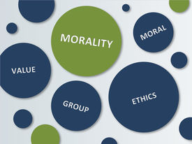 image of moral  - Various Blue and Green Circles for Morality Concept Design - JPG