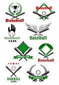 picture of bat wings  - Baseball game sporting emblems or symbols with various text - JPG