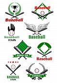 foto of bat wings  - Baseball game sporting emblems or symbols with various text - JPG