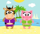 stock photo of sea cow  - Summer background with cow and pig vector - JPG