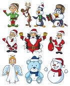 stock photo of christmas angel  - A set of Christmas cartoon characters - JPG