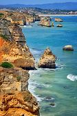 image of lagos  - Rocks and Sea in Lagos Algrave Portugal - JPG