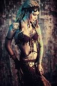 picture of  dancer  - Art portrait of a beautiful traditional female dancer - JPG