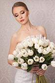 stock photo of beauty salon interior  - Beautiful and fashion bride in luxury interior - JPG