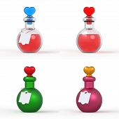 pic of perfume bottles  - A set of 3D love potion bottles or perfume bottles - JPG