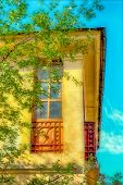 foto of fragmentation  - fragments house window old architecture against the sky photo in old image style - JPG
