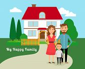 image of red roof  - Happy family near house - JPG