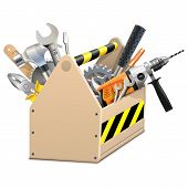 foto of hammer drill  - Wooden Box with drill - JPG