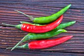 pic of chillies  - chilli peppers on the wooden table hot chilli - JPG