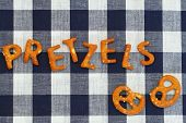 foto of pretzels  - Word pretzels written with pretzel - JPG