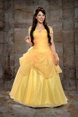 stock photo of dungeon  - Portrait of beautiful young woman dressed in princess costume inside castle - JPG