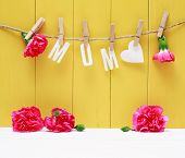 picture of carnations  - Hanging MOM letters with carnation flowers over yellow wooden wall - JPG
