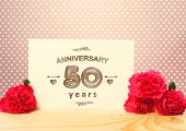 pic of carnations  - 50 years anniversary card with pink carnation flowers - JPG