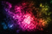 image of nebula  - Deep space starfield with colorful nebula background - JPG