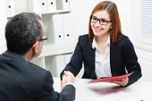 stock photo of interview  - Job applicant having interview - JPG