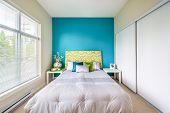 stock photo of master bedroom  - Modern blue bedroom interior with blue - JPG