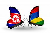 pic of mauritius  - Two butterflies with flags on wings as symbol of relations North Korea and Mauritius - JPG