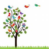stock photo of fanny  - Colorful background with fanny birds and trees - JPG