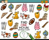 pic of brain-teaser  - Cartoon Illustration of Finding Single Picture without a Pair Educational Game for Preschool Children - JPG
