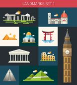 stock photo of world-famous  - Set of vector flat design famous world landmarks icons - JPG