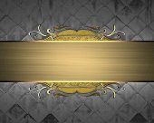 picture of nameplates  - Metal texture with gold nameplate and gold trim - JPG