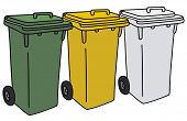 image of dustbin  - Hand drawing of three plastic recycling dustbins - JPG