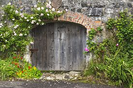 picture of irish  - Charming rose covered grey stone and brick wall and stable doors in Northern Irish village - JPG