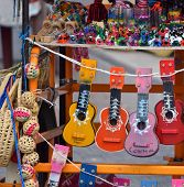 foto of memento  - view of colorfull handmade souvenirs from mexico - JPG