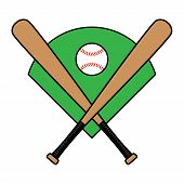 stock photo of baseball bat  - A vector illustration of two crossed baseball bats with a baseball on a green diamond field - JPG