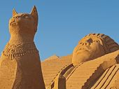 stock photo of bastet  - Bastet the Egyptian Cat God Sand Sculpture - JPG