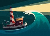 picture of lighthouse  - Tugboat with lighthouse on it during the storm - JPG
