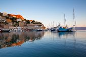 stock photo of hydra  - Boats in the harbour of Hydra - JPG