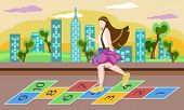 foto of playmate  - Little girl on playground playing hopscotch game - JPG