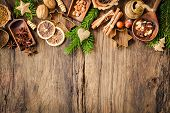 pic of christmas spices  - Baking concept background with spices and utensils for Christmas cookies - JPG