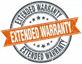 picture of extend  - extended warranty round orange grungy vintage isolated stamp - JPG