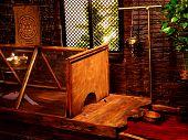 stock photo of hindu  - Interior of hindu ayurveda massage sauna with window  - JPG