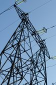 stock photo of power transmission lines  - supports of high - JPG