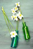 picture of daffodils  - Beautiful daffodils in vases on wooden background - JPG