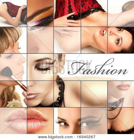 Постер, плакат: Мода коллаж, холст на подрамнике