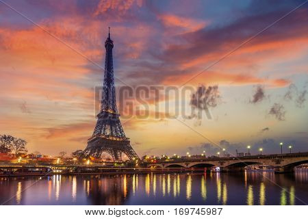 poster of The Eiffel tower at sunrise in Paris France
